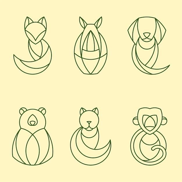 Conjunto de vectores animales geométricos lineales. vector gratuito