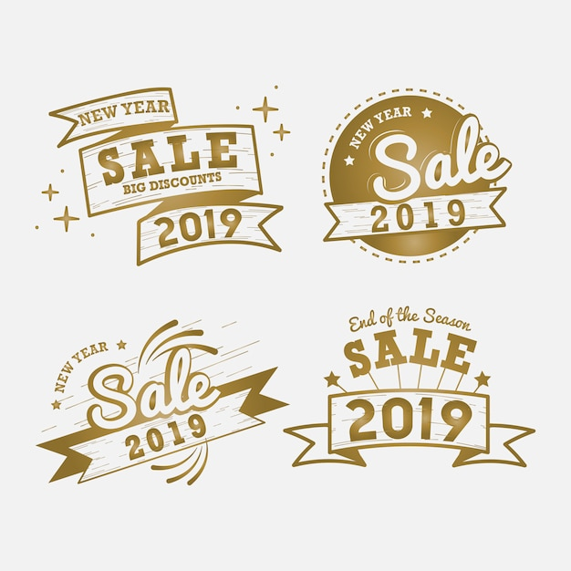 Conjunto de vectores de año nuevo venta insignia vector gratuito