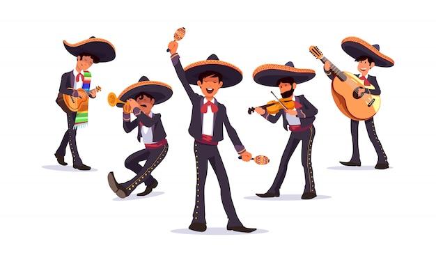 Conjunto de vectores de banda de mariachis de músicos mexicanos, con guitarra y maracas, trompeta y violín. Vector Premium