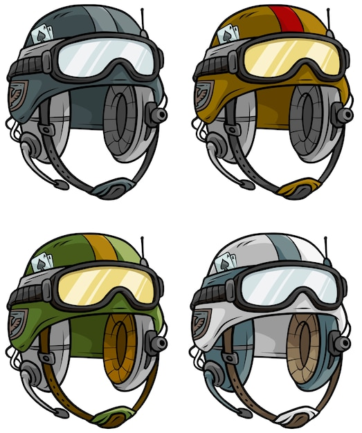 Conjunto de vectores de casco de ejército moderno de dibujos animados Vector Premium