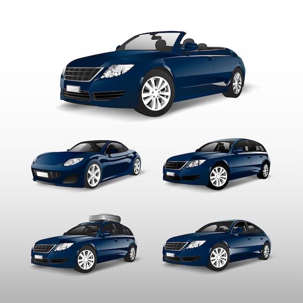 Conjunto de vectores de coche azul vector gratuito