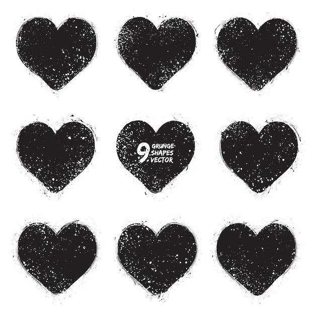 Conjunto de vectores de corazones de grunge Vector Premium