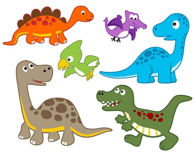 Conjunto De Vectores De Dibujos Animados Coloridos Dinosaurios