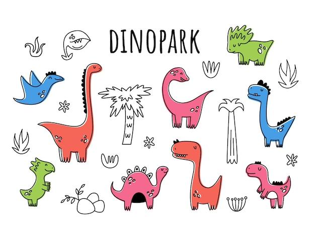 Conjunto de vectores con dinosaurios. aislante estilo de dibujos animados Vector Premium