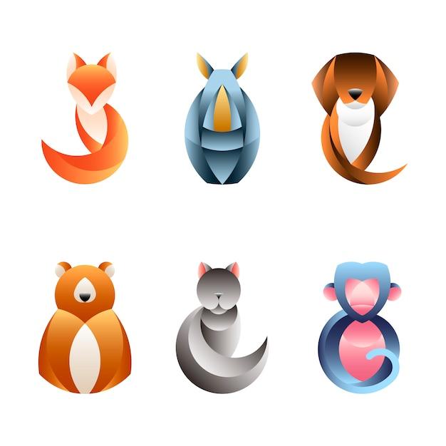 Conjunto de vectores de diseño animal geométrico. vector gratuito