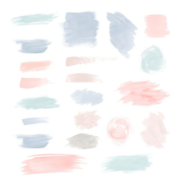 Conjunto de vectores de diseño colorido pincelada vector gratuito