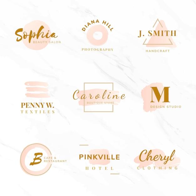 Conjunto de vectores de diseño de logotipo de belleza y moda. vector gratuito