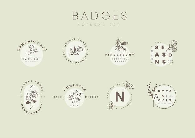 Conjunto de vectores de diseño de logotipo botánico vector gratuito