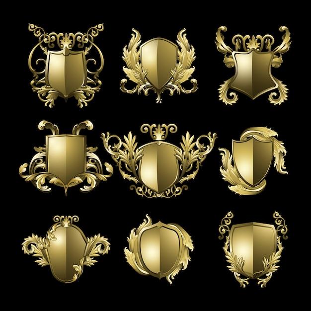 Conjunto de vectores de elementos de escudo barroco dorado vector gratuito