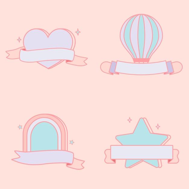 Conjunto de vectores emblemas pastel lindo vector gratuito