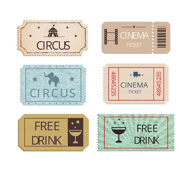 Conjunto de vectores de entradas de circo y fiesta de cine vintage que muestra entradas perforadas con iconos que representan el elefante de bebida gratis y la carpa grande con dos entradas de bebida gratis para refrescos vector gratuito