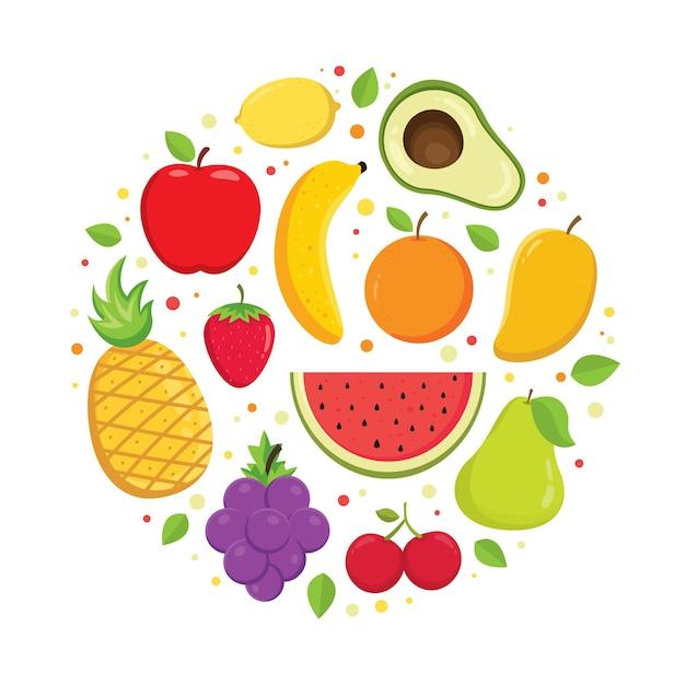 Conjunto de vectores de frutas coloridas de dibujos animados Vector Premium