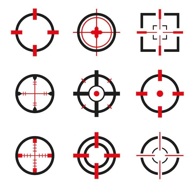 Conjunto de vectores de iconos de la cruz aislado Vector Premium