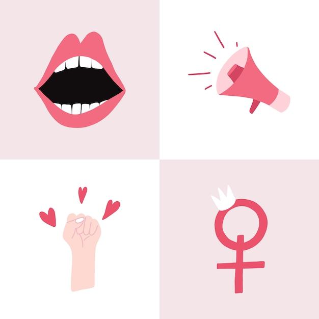 Conjunto de vectores de insignia feminista rosa vector gratuito