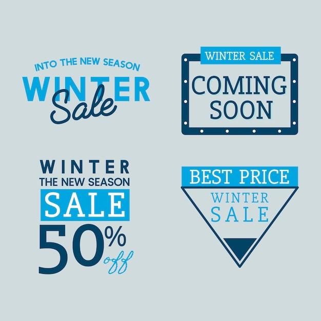 Conjunto de vectores de la insignia de venta de invierno vector gratuito