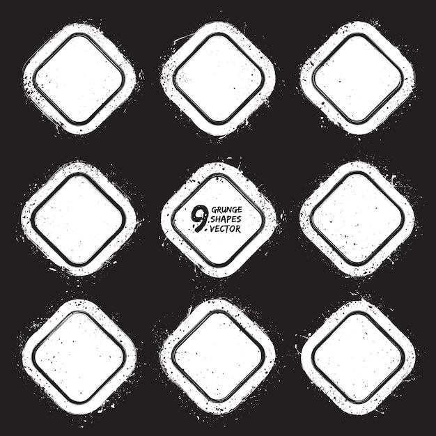 Conjunto de vectores de insignias con textura abstracta de grunge Vector Premium
