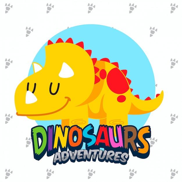 Conjunto de vectores lindos dinosaurios Vector Premium