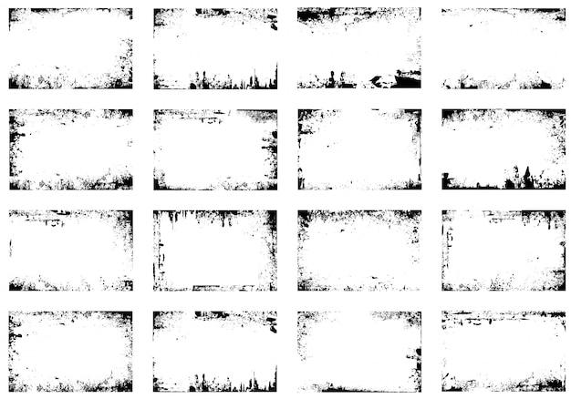 Conjunto de vectores de marco de grunge Vector Premium