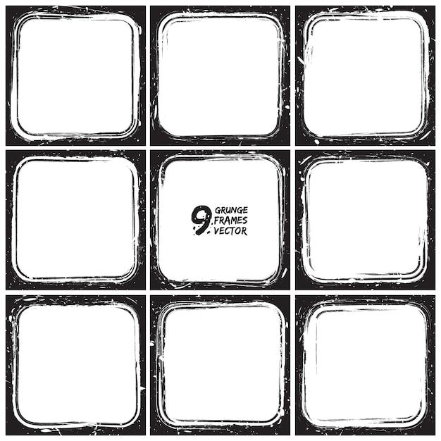 Conjunto de vectores de marcos de grunge Vector Premium