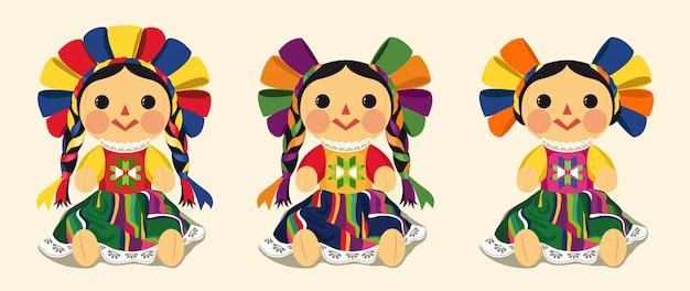 Conjunto de vectores de muñeca maria tradicional mexicana Vector Premium