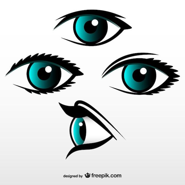 Conjunto de vectores de ojos vector gratuito