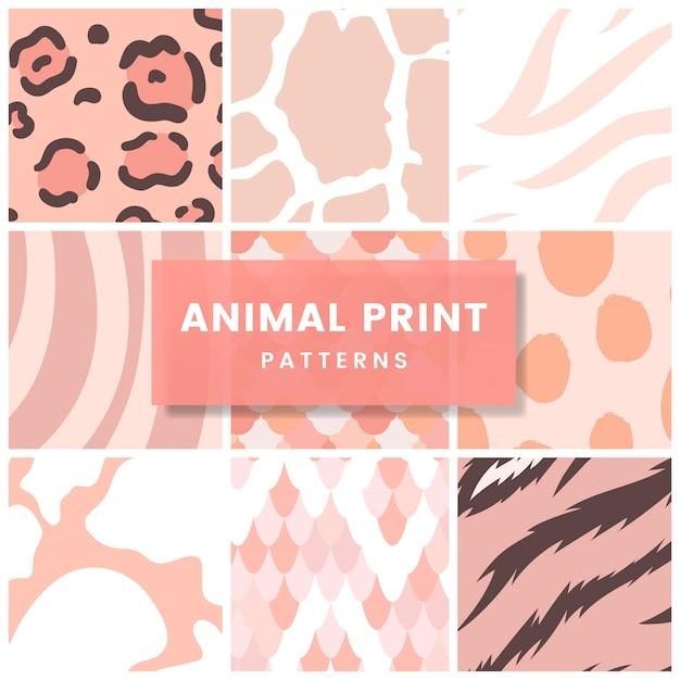 92087c40eb4 Conjunto de vectores de patrón de impresión animal transparente ...