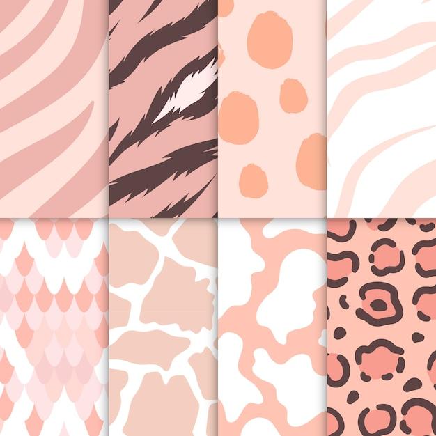 Conjunto de vectores de patrón de impresión animal transparente vector gratuito