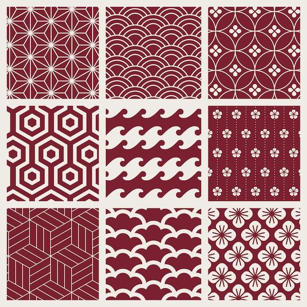 Conjunto de vectores de patrón de inspiración japonesa vector gratuito