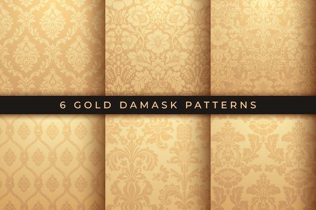 Conjunto de vectores patrones de damasco. adorno de oro rico, antiguo patrón de estilo de damasco para fondos de pantalla Vector Premium