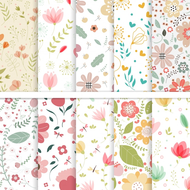 Conjunto de vectores de patrones sin fisuras de flores. Vector Premium