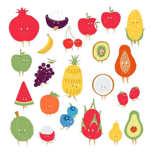 Conjunto de vectores de personajes de dibujos animados de frutas tropicales vector gratuito
