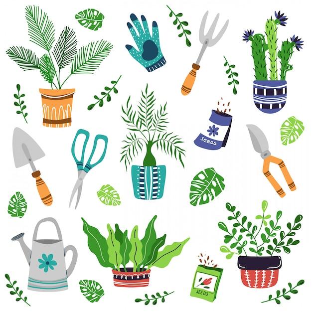 Conjunto de vectores - plantas de maceta, herramientas de jardín, semillas Vector Premium