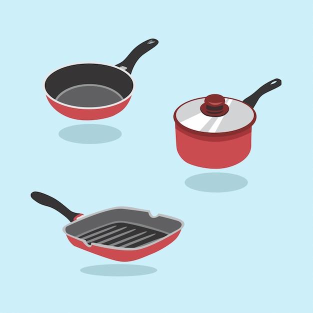Conjunto de vectores de sartén. un conjunto de artículos de cocina para cocinar. cacerola, cazo, sartén. Vector Premium