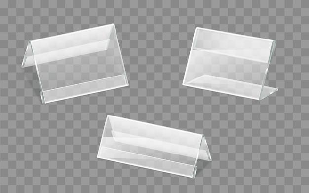 Conjunto de vectores de soportes de plástico o acrílico para placas de identificación vector gratuito