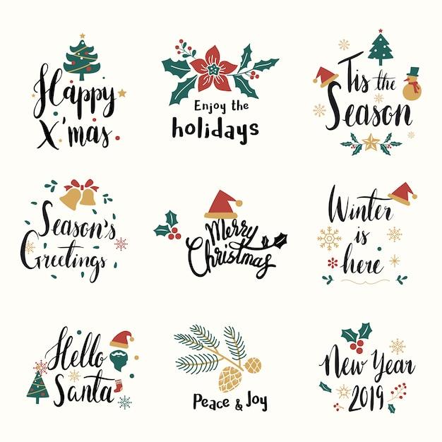 Conjunto de vectores de tarjeta de felicitación de navidad vector gratuito
