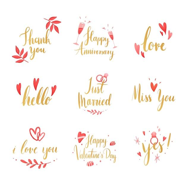 Conjunto de vectores de tipografía de boda y amor. vector gratuito