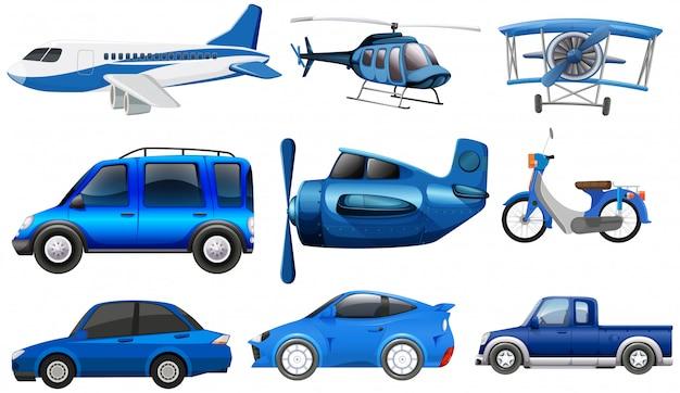 Conjunto de vehículo de transporte. vector gratuito