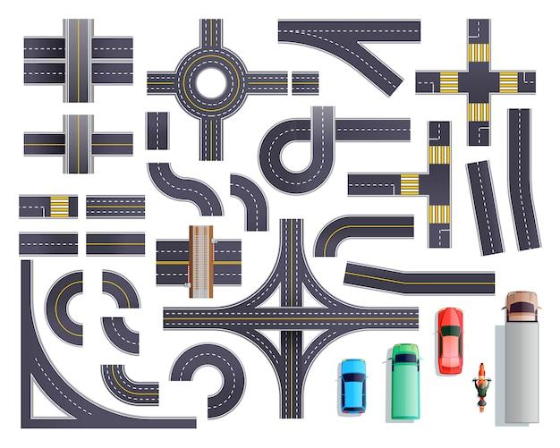 Conjunto de vehículos de piezas de carretera vector gratuito