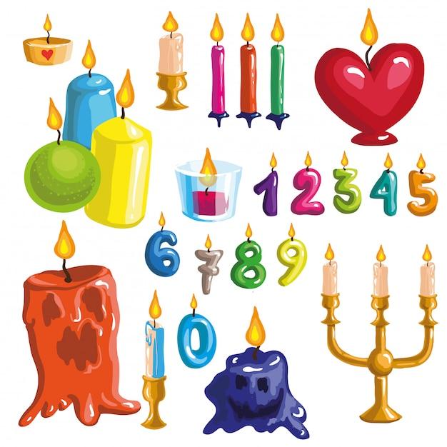 Conjunto de velas de colores originales. Vector Premium