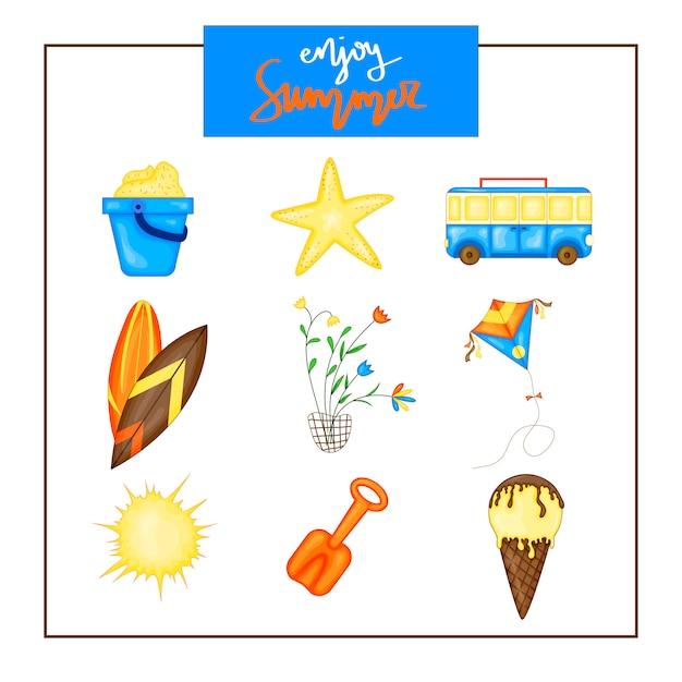 Conjunto del verano de items en un fondo blanco. viajes, playa y comida deliciosa. Vector Premium