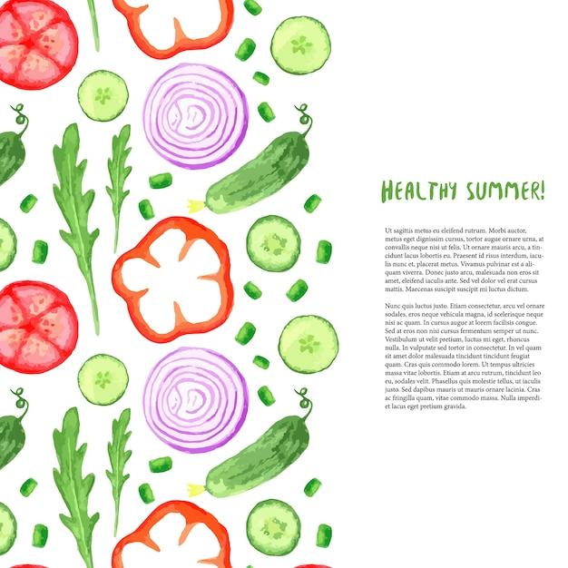 Conjunto de verduras de acuarela de pintura de mano. borde de acuarela con rúcula, pepino, tomate Vector Premium