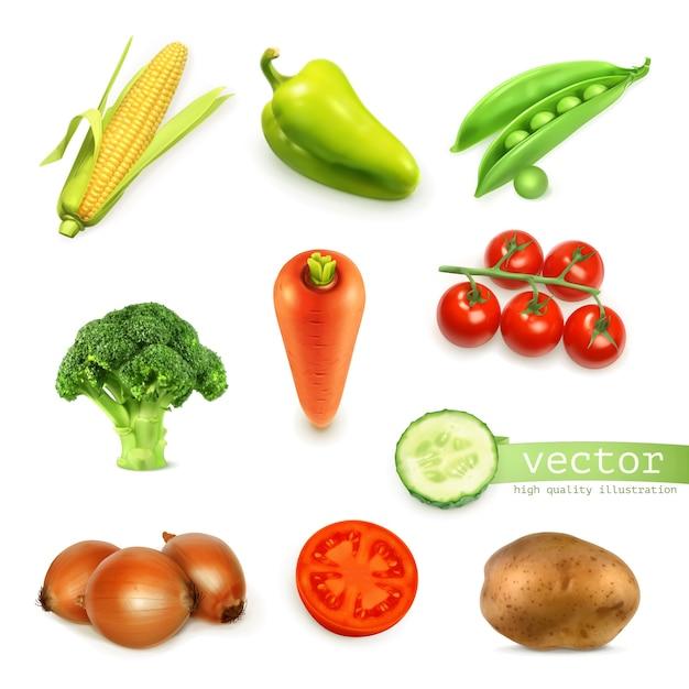 Conjunto de verduras conjunto ilustración Vector Premium