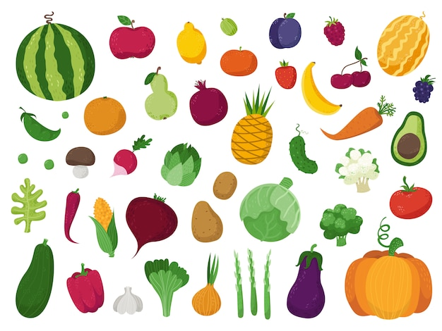 Conjunto de verduras, frutas y bayas. Vector Premium