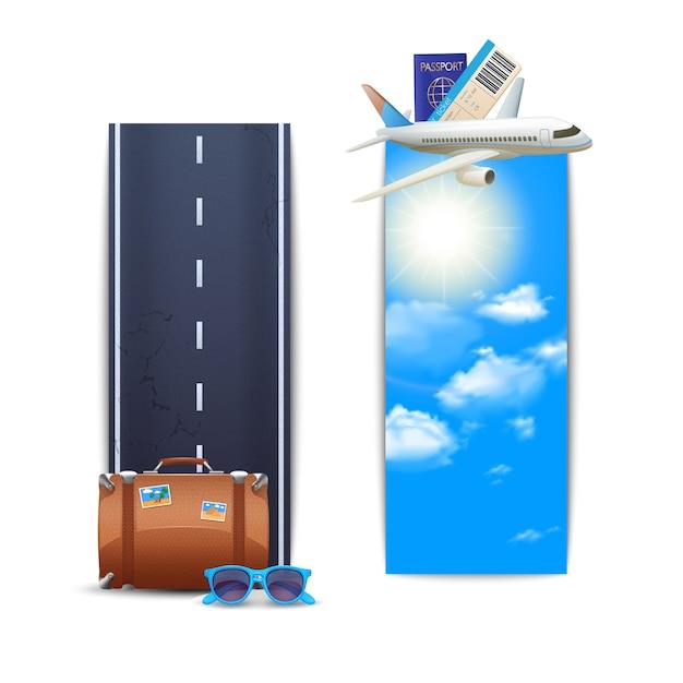 Conjunto vertical de banners de viaje. vector gratuito