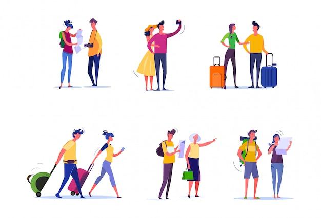 Conjunto de viajeros y pasajeros vector gratuito