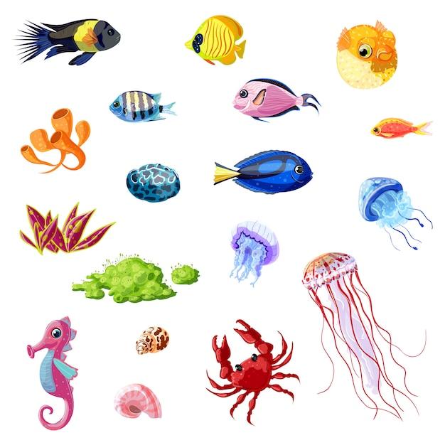 Conjunto de vida marina colorida de dibujos animados vector gratuito