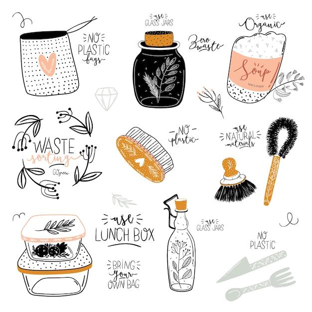 Conjunto de vida útil cero. tarro de cristal y cubiertos, bolsa de supermercado ecológica, cepillo de dientes, cosmética natural, copa menstrual, taza termo. . ilustración en blanco y negro dibujado a mano de moda en estilo escandinavo. Vector Premium