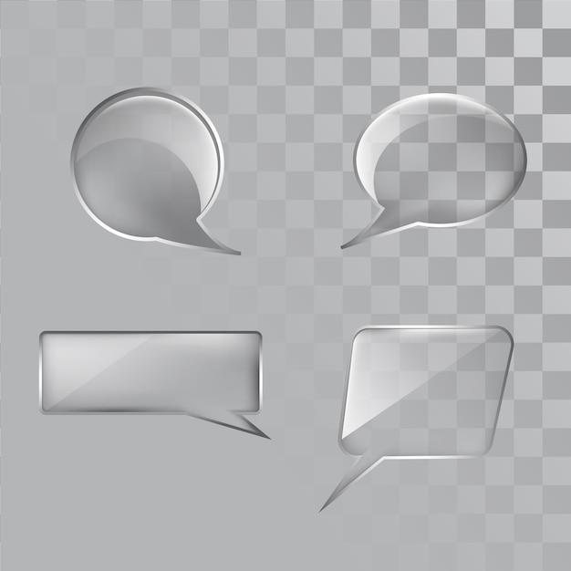 Conjunto de vidrio de burbujas de discurso transparente Vector Premium