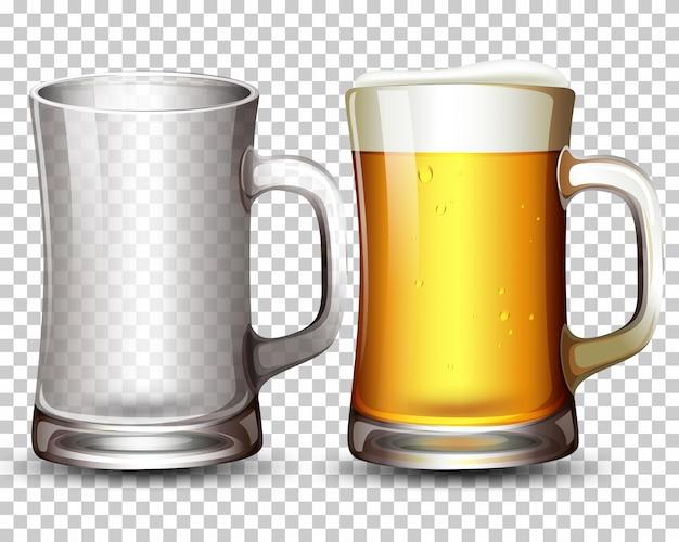 Conjunto de vidrio y cerveza. vector gratuito
