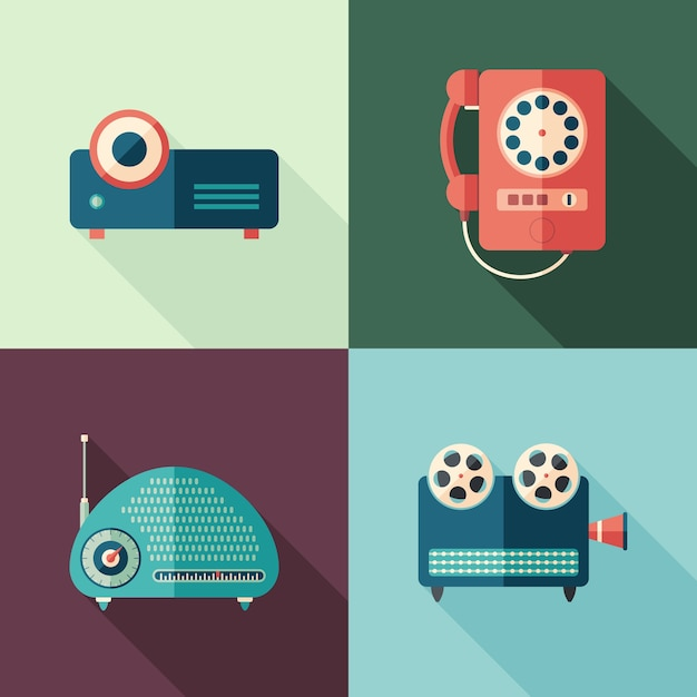 Conjunto de vintage audio y video iconos planos con largas sombras. Vector Premium